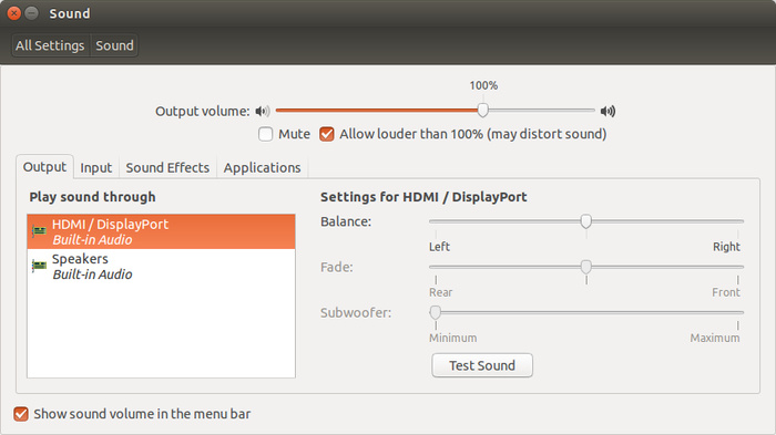 HDMI audio Ubuntu