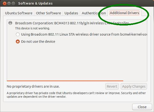 Install additional drivers in Ubuntu 13.04