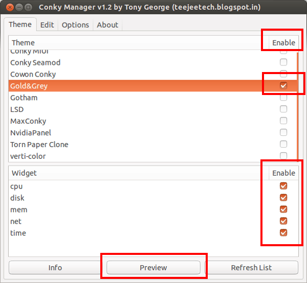 Use Conky with GUI in Ubuntu with COnky Manager