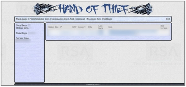 Interface of Hands of Theif Linux Banking Trojan