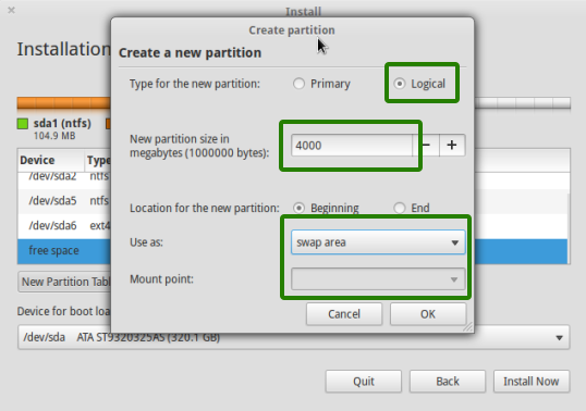 swap partition to install elementary OS luna