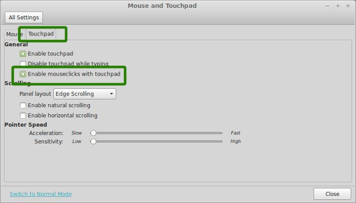 Enable touchpad clicks in Linux Mint