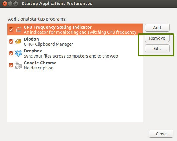 change start up applications Ubuntu 13.10