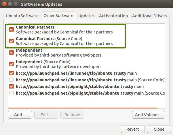 Enable Canonical partners in Ubuntu 14.04