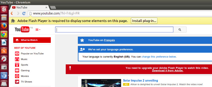 Adobe Flash Player Issue with Chromium in Ubuntu 14.04