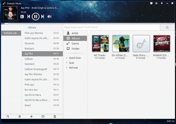 Deepin music player in Ubuntu and Linux Mint
