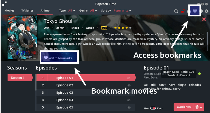 Save videos in bookmark in Popcorn Time