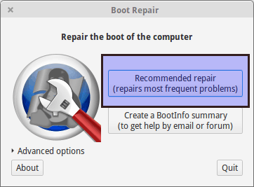 boot repair in Ubuntu Linux