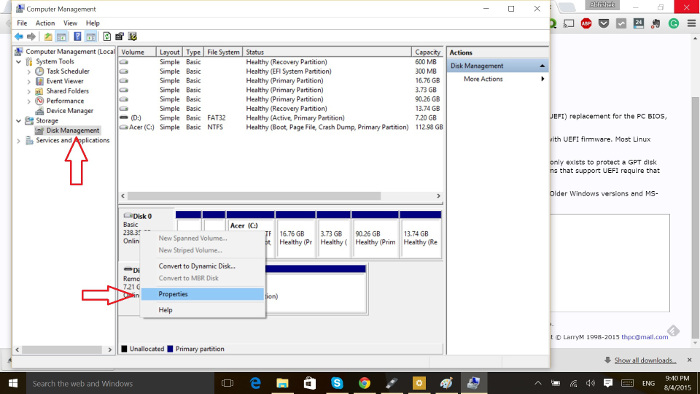 Partition type in Windows 10