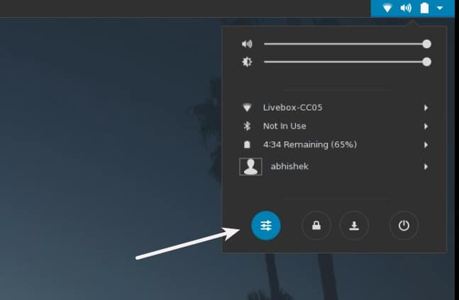 System Settings in GNOME Antergos Linux