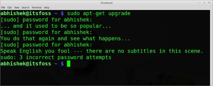 sudo insults funny Linux command