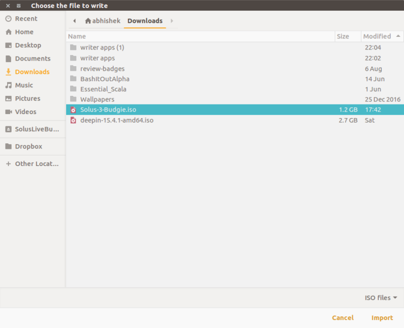 Creating live USB of Solus Linux with GNOME MultiWriter