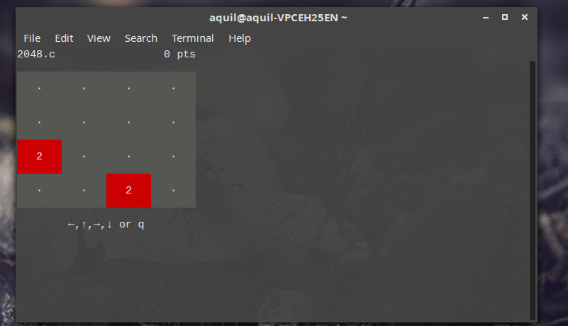 2048 game in Linux terminal