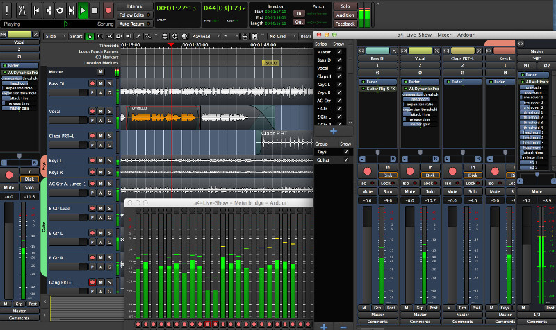 Ardour audio editor interface