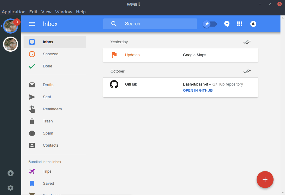 Wmail with Google Inbox account