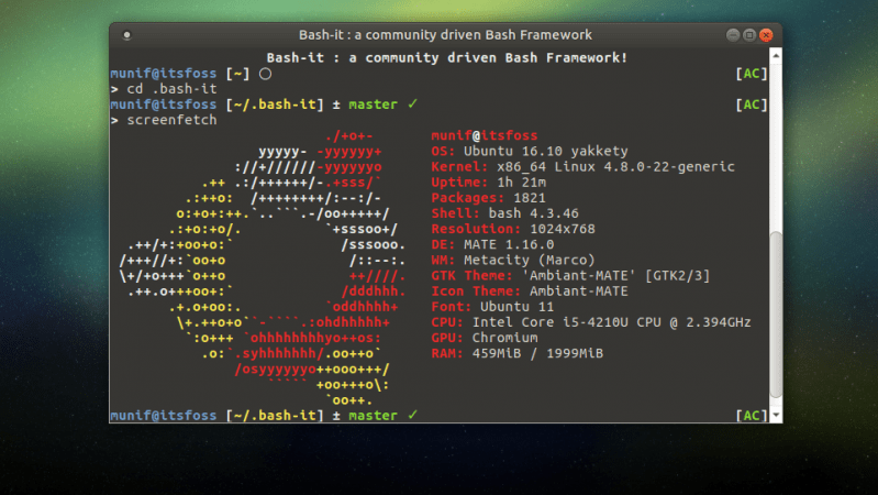 Bash-it : Bash Framework To Make Your Terminal Cool - It's FOSS