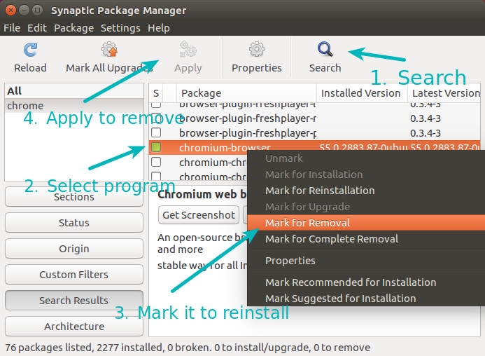 Using Synaptic to remove software in Ubuntu