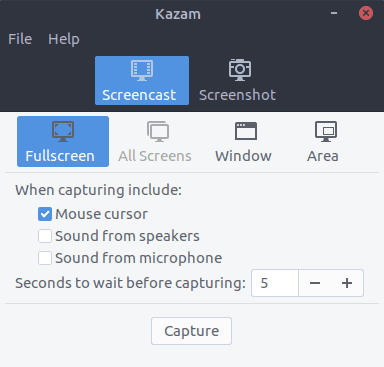 Kazam Interface