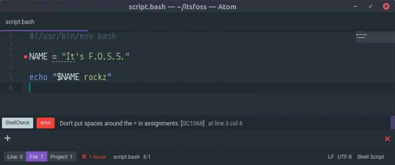 Atom with Linter-ShellCheck