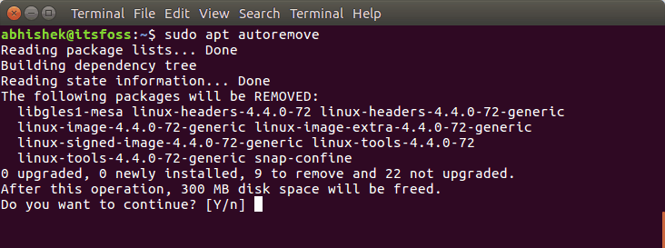 Free up space with autoremove command
