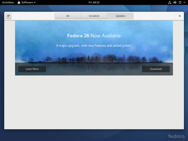 Upgrade to Fedora 26 from Fedora 25