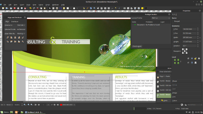 Scribus is alternative to Adobe Indesign in Linux