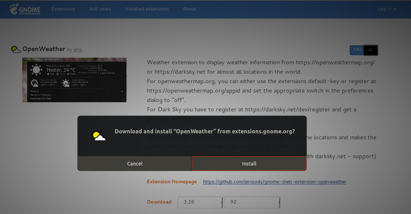 Install GNOME Shell Extensions via web browser
