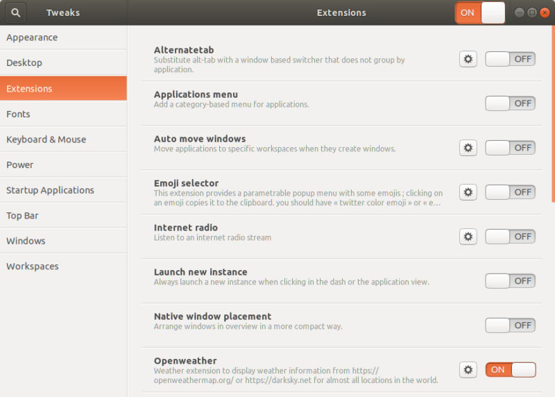 GNOME Tweaks to handle GNOME Shell Extensions