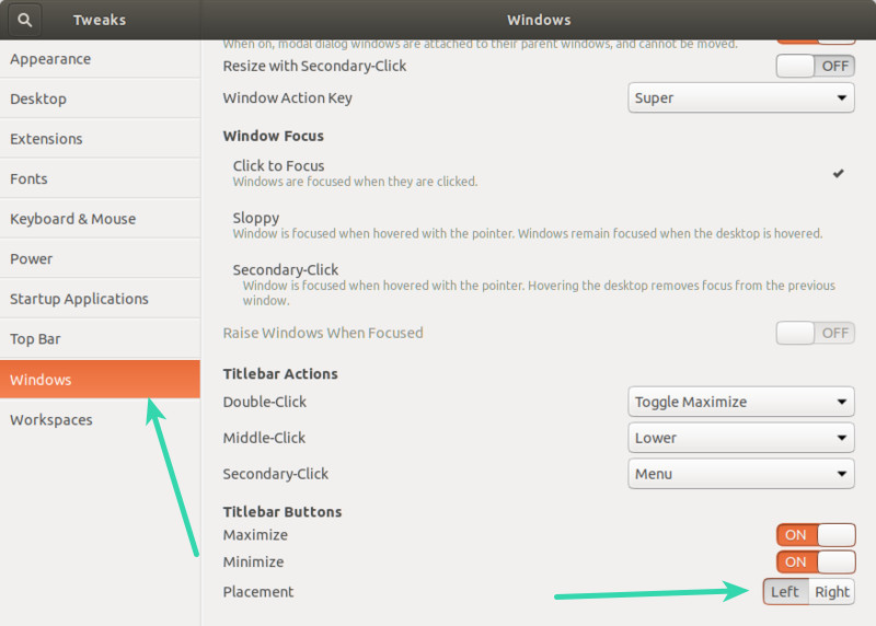 Move Windows Control to Left hand Side in Ubuntu GNOME