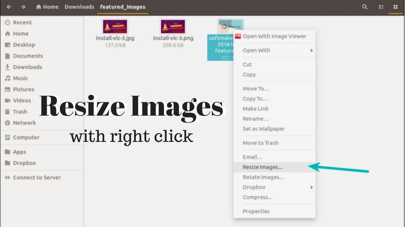 Resize Images with Right Click on Ubuntu and Other Linux