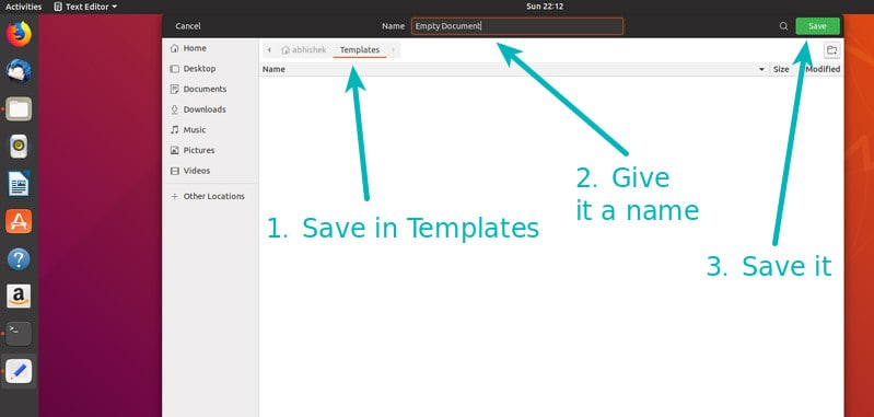 Save empty new file in Templates