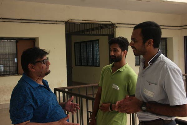 Talking with Vipin George before his forensic talk.